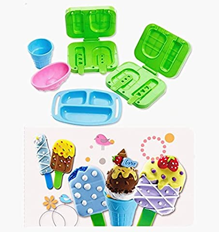 TECH-P Creative Life Ice cream 3D Play Dough Clay Modeling Tools for Kids-9 Piece/Set