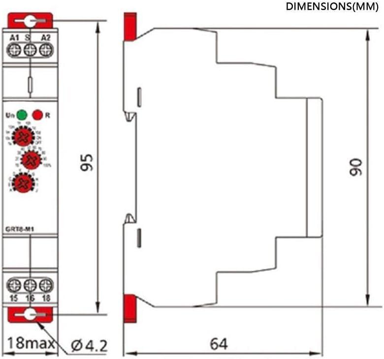 Retard multifonction Temps Relais GRT8-M2 avec 10 Fonctions rail DIN /électronique 16A 220V AC