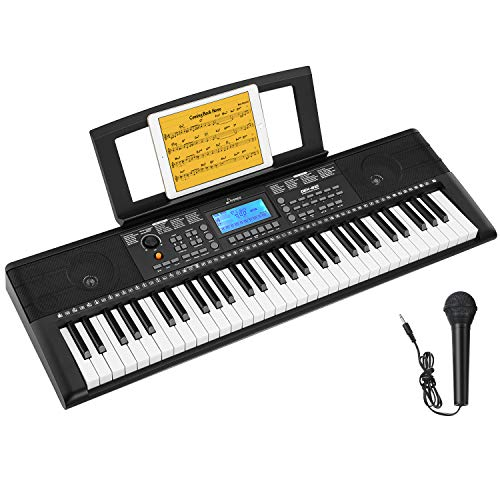 Donner DEK-610 61 Keys Electronic Keyboard Portable Electric Music Piano with Full-Size Keys for Beginners, Include a Music Stand and Microphone