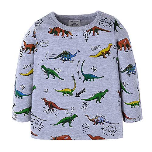 Sweatshirt Birthday Kids (Toddler Boys Long Sleeve T-Shirts Dinosaur Sweatshirts Pullover Sport Baby Tees for Boys Dino 6T)