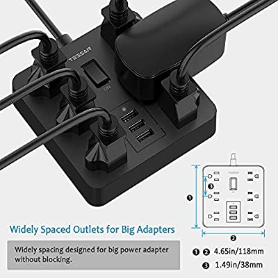 Power Strip with USB Ports 6 Outlets Desktop Charging Station with 15A 4ft Extension Cord and