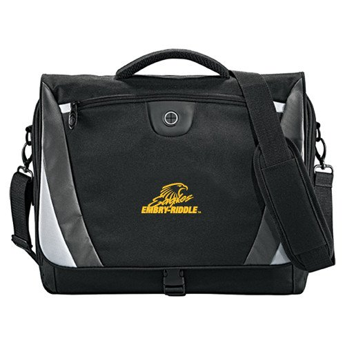 Embry Riddle Slope Black/Grey Compu Messenger Bag 'Primary Mark' by CollegeFanGear