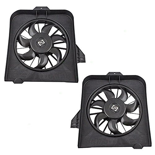 Pair Set Radiator w/AC A/C Condenser Cooling Fan Assemblies for Caravan Town & Country Voyager 4809171AE 4809170AE