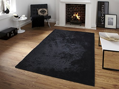 All New Contemporary Solid Colored Silky Touch Shag Rugs by Rug Deal Plus (5' x 7', Black) by Rug Deal Plus