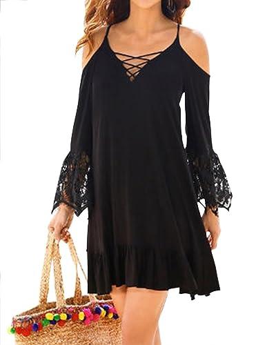 Donna Vestito Manicotto Pizzo Beach Dress Vestito Sciolto Tunica Camicia Vestito Spiaggia