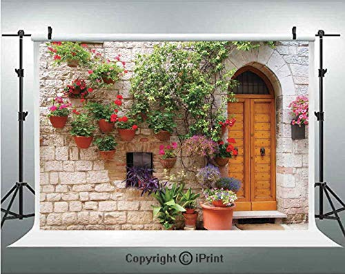Tuscan Photography Backdrops Begonia Blossoms in Box Window Wooden Shutters Brick Wall Romagna Italy,Birthday Party Background Customized Microfiber Photo Studio Props,5x3ft,Orange White Green