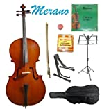 MERANO BRAND 4/4 Size Natural Cello with Bag and Bow+Rosin+Extra Set of MERANO Brand Strings+Tuner+Cello Stand+Music Stand