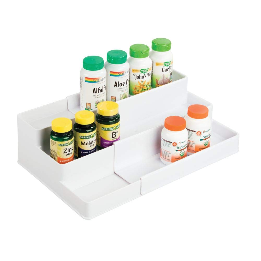 mDesign Adjustable, Expandable Plastic Vitamin Rack Storage Organizer Tray for Bathroom Vanity, Countertop, Cabinet - 3 Shelves - Holds Supplements, Medication - White by mDesign