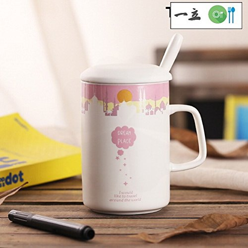 COL104 Vintage Restaurant Coffee Creative Ceramic Message Mug Couple Cups With Lid Spoon Milk Coffee Breakfast Large European Ceramic Cup Daytime Pink 301-400ml Ufcell ()