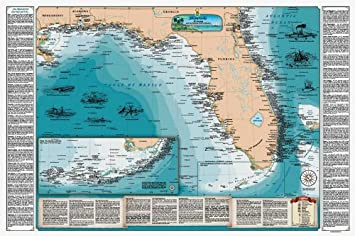 Beautiful Shipwreck Map of Florida and the Eastern Gulf of Mexico  (Laminated)