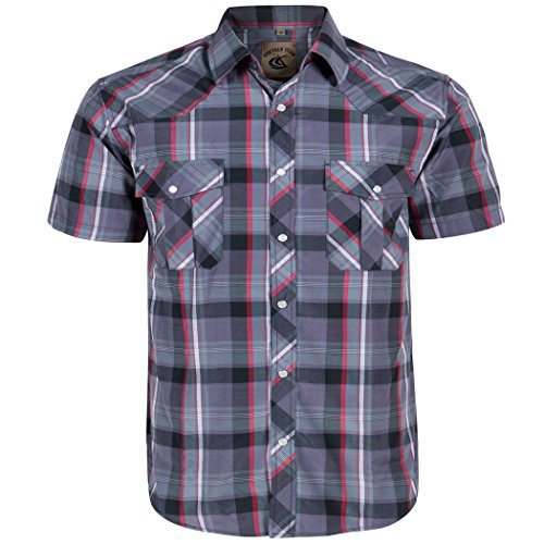 (Coevals Club Men's Button Down Plaid Short Sleeve Work Casual Shirt (Red & Gray #23, XL) )