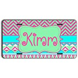 Monogrammed front license plate - Cute tribal pattern in pastels of blue and pink - personalized front car tag monogram car accessory