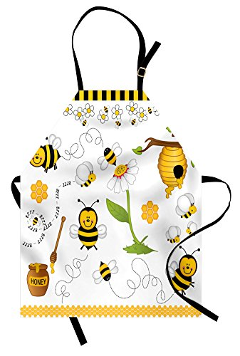 Ambesonne Collage Apron, Flying Bees Daisy Honey Chamomile Flowers Pollen Springtime Animal Print, Unisex Kitchen Bib Apron with Adjustable Neck for Cooking Baking Gardening, Yellow White