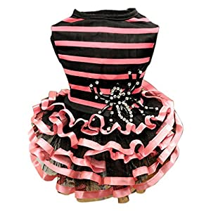 happog Pet Clothes Dog dress pink yellow Small Medium Dogs Vests Classic Puppy Vintage Striped princess Cake skirt