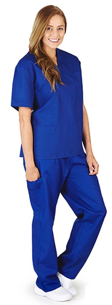 Natural Workwear Uniform Unisex Medical Nurse Scrub Set, True Royal Blue 38753-X-Large