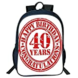 DKFDS Backpacks Unisex School Students Black 40th Birthday Decorations,Dated Rubber Stamp Number Forty Congratulation Grungy Look,Red White Kids,