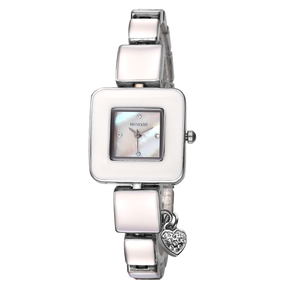 AStarsport Women Ladies Classical Casual Cute Square case Shell Dial with Rhinestone Love Pendant Women's Dress Watches Fashion Wrist Watch Rose Gold Silver