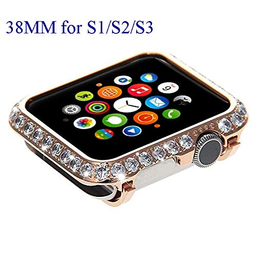 Bling Bling Sparkling Diamond Crystal Watch Bezel Cover Case for Apple Watch iWatch S1/S2/S3 Sports & Edition Version Smaller Size 38MM (Non Ceramics) (Rose Gold Diamond)