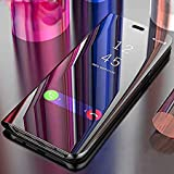 Twibee Next Generation Quality Luxury Clear View Electroplate Mirror Protective Leather Flip Cover for One Plus 6T [1+6T] oneplus 6t [2018 Launch] (Black)