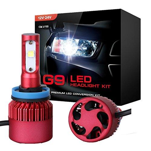 PowLab 2PCS H8/H9/H11 High Beam/Low Beam Single Beam 8000LM 72W 6500K CREE Chip Diamond White LED Headlight Headlamp Replacement Conversion Bulb Kit 2 Yr Warranty