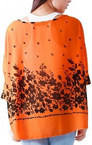 Maniche Chiffon 3 Blusa Camicette 01 Camicie Girocollo Manica Fiori Magliette Tops Landove Sciolto Camicia Modello 4 Donna Camicetta 5qAv7
