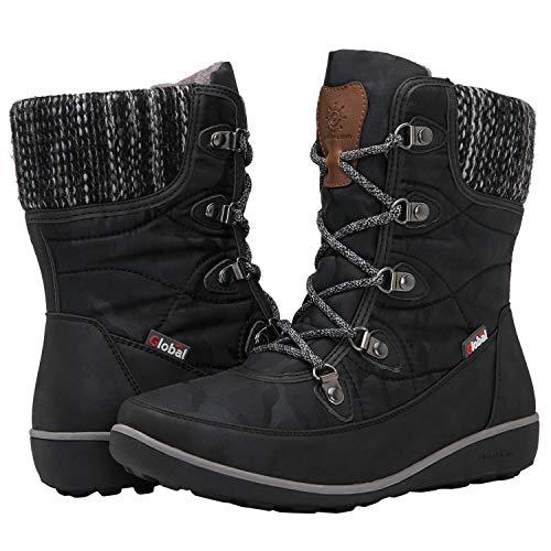 Globalwin Women's 1841 Black Winter Snow Boots 9.5M
