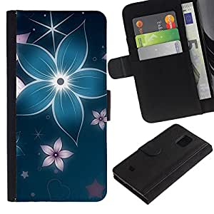 KLONGSHOP / Tirón de la caja Cartera de cuero con ranuras para tarjetas - Floral Flower Petal Blue Star Iridescent - Samsung Galaxy S5 Mini, SM-G800, NOT S5 REGULAR!