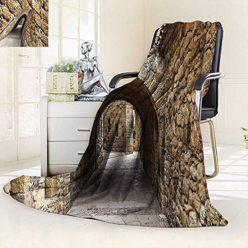 vanfan All-Season Super Soft Blanket Collection Medieval Ancient Historic Street Stone Walls in Pals Girona Catalonia Spain,Silky Soft,Anti-Static,2 Ply Thick Blanket. (90''x70'') by vanfan