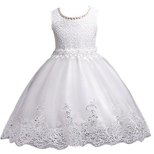 Girls Embellished - DreamHigh Flower Girl's Floral-Embroidered Pearl Embellished Evening Dress Up White - 4Y