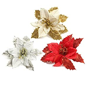 Yalulu Pack of 6 Glitter Artificial Wedding Christmas Flowers Poinsettia Christmas Tree Ornaments Wedding Party Decor Dia 7 inch (Silver) 118