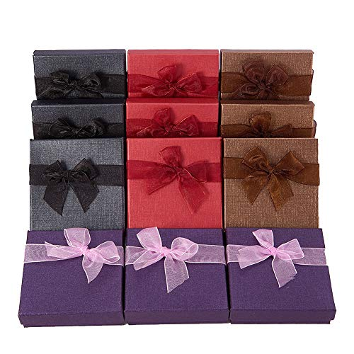 BENECREAT 12 Pack Cardboard Jewelry Bangle Gift Boxes with Bows in 4 Colors for Bangle and Bracelet - 3.5 x 3.5 x 1 Inches -