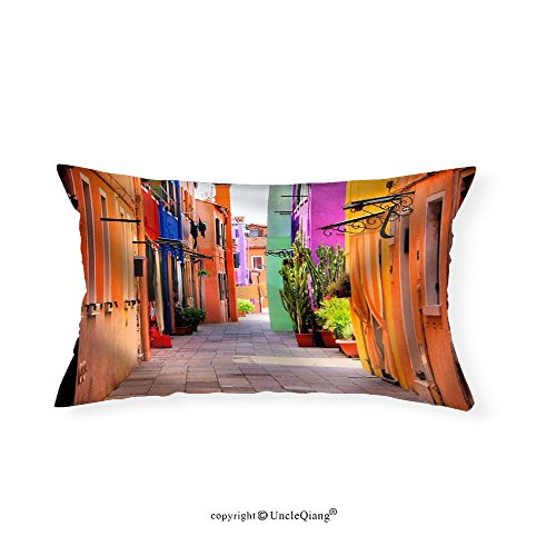 VROSELV Custom pillowcasesColorful Street in Burano near Venice Italy - Fabric Home Decor(12''x24'') by VROSELV