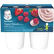 Gerber Yogurt Blends Snack, Mixed Berry, 4-Count, 3.5-Ounce Cups (Pack of 6)
