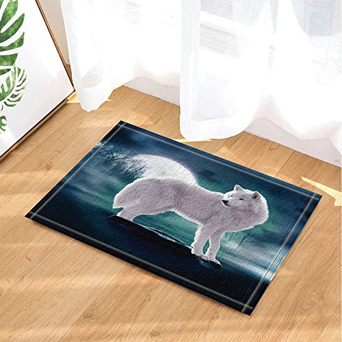 GoHeBe Safari Animal Decor Wild Animal White Wolf Standing on Stone Against Full Moon Backdrop Bath Rugs Non-Slip Doormat Floor Entryways Indoor Front Mat Kids Mat 15.7x23.6in Bathroom Accessories