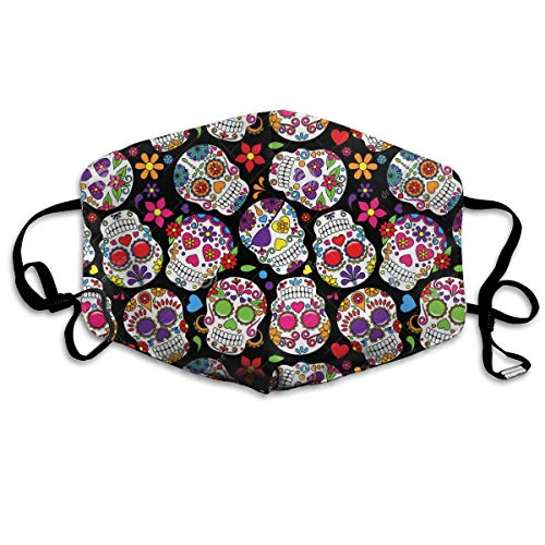 Day Of The Dead Sugar Skull Seamless Vector Ba Dust Mask,Washable and Reusable Cleaning Gardening Mask,For Allergens,Exhaust Gas,PM2.5, Running, Cycling, Outdoor Activities Warm Windproof Mask (Vector Gas Mask)