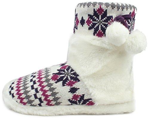 Enimay Womens Slipper Boots Lounge House Scarpe Rilassate Fiocchi Di Neve Invernale Cuori Viola   Bianco