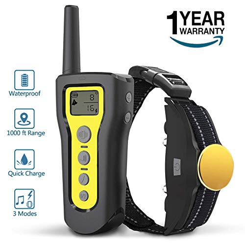 AngelaKerry Dog Training Collar, 1000ft Remote Dog Shock Collar, 100% Waterproof and Rechargeable with Beep/Vibra / Electric Shock (Yellow, 1 Collar) Review