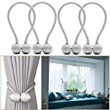 YIDIE Magnetic Curtain Tiebacks Classic Holdbacks Home Office Decorative Drapes Holders Window Sheer and Blackout Panels, Gray/2 Pair