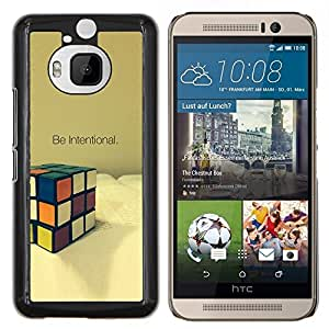 KLONGSHOP // Cubierta de piel con cierre a presión Shell trasero duro de goma Protección Caso - Intencional Game Cube Matemáticas Puzzle - HTC One M9Plus M9+ M9 Plus //