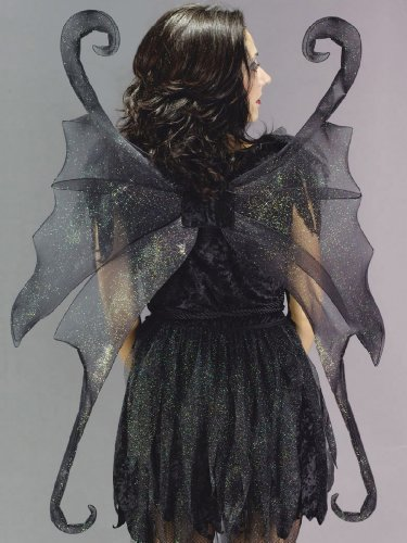 Adult Gothic Fairy Wings (Large Black Fairy Wings Gothic Fairy Theatre Costumes Accessory)