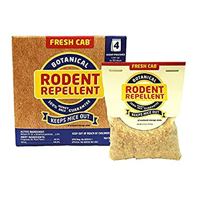 Fresh Cab Botanical Rodent Repellent Scent Pouches - EPA Registered, Keeps Mice Out
