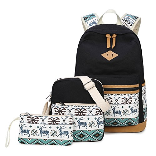 Canvas School Backpack Small Pack Student Bookbags for Girls Boys (Black-3pcs)