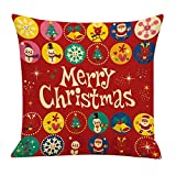 Leewos Christmas Pillowcase,Xmas Santa Beer Style Pattern Cushion Case Cotton Linen Square Home Decor Pillow Covers (18''x18'', D)