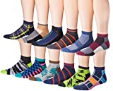 James Fiallo Men's 12-Pairs Low Cut Athletic Sport Peformance Socks, (sock size 10-13) Fits shoe size 6-12, 2903-04