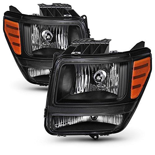 ACANII - For Blk 2007-2011 Dodge Nitro Headlights Headlamps Aftermarket Driver + Passenger Side 07-11 Set