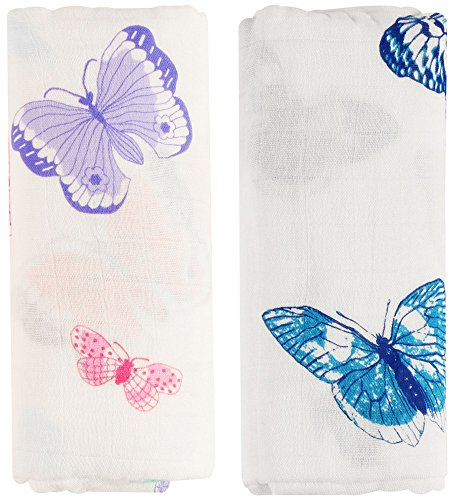 Butterflies Gift Wrap - Bamboo Muslin Swaddle Blankets - 2 Pack Butterfly Print Baby Swaddle Wrap for girl shower gift by Little Jump (Butterfly)
