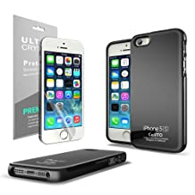 Black Cellto Anti-slip TPU Crystal Silicone Skin Case + Free Lcd Screen Protector Cover Kit Film For Apple Iphone 5/5s