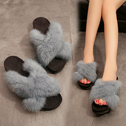 Auspicious Air fourrure Plein Chaussure Slip Faux beginning Sur Mode En Pantoufle Flop féminine Flip Gris Appartements 4qOF4wr