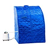 KUPPET Portable Folding Steam Sauna-2L One Person Home Sauna Spa for Full Body Slimming Loss Weight w/Chair, Remote Control, Steam Pot, Foot Rest, Mat (Blue)...