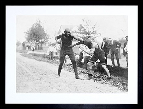 (The Art Stop Vintage Photo Jack Johnson Boxer Bare Knuckle Fight Frame Print Picture)